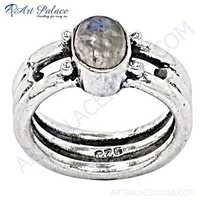 Simplicity Rainbow Moonstone Silver Gemstone Ring