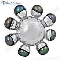 Antique Style Black Pearl Gemstone Silver Pendant