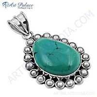Royal Pearl & Turquoise Gemstone Silver Pendant