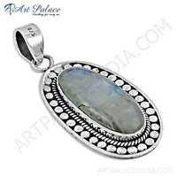 Famous Designer Rainbow Moonstone Gemstone Silver Pendant