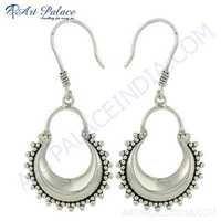 Beautiful Plain Silver Gemstone  Women Earrings