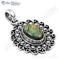 Indian Designer Labradorite Gemstone Silver Pendant