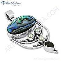 Traditional Garnet & Pearl Gemstone Silver Pendant