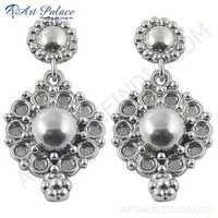 Flower Style Plain Silver Earrings