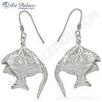 Fish Shape Plain Silver Earrings