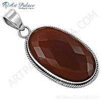 Exclusive Red Onyx Gemstone Silver Pendant