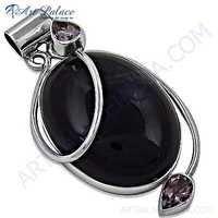 Rocking Style Amethyst Gemstone Silver Pendant