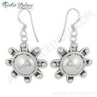 Popular Flower Style Plain Silver Earrings