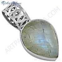 Pure Style Rainbow Moonstone Silver Pendant