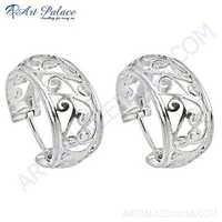 Stylish Plain Silver Earrings
