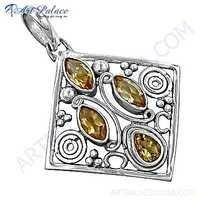 Traditional Designer Citrine Gemstone Silver Pendant