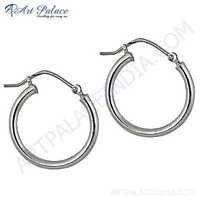 Simple Plain Silver Earrings