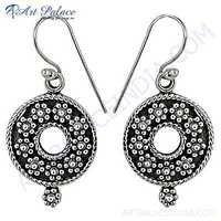 Traditional Flower Style Plain Silver Earrings