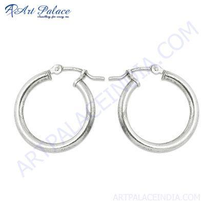 Simple  & Attractive Plain Silver Earrings