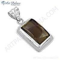 Dazzling Smokey Quartz Gemstone Silver Pendant