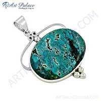 Hot World ! Large Antique Turquoise Gemstone Silver Pendant