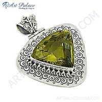 Traditional Designer Lemon Quartz Gemstone Silver Pendant