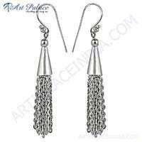 Beautiful Plain  Silver Earrings
