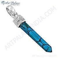 New Pencil Turquoise Gemstone Silver Pendant