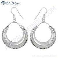 Indian Touch Plain Silver Earrings