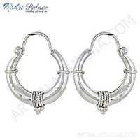 Trendy  & Charming Plain Silver Earrings