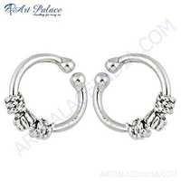 Charming & Rocking Plain Silver Earrings