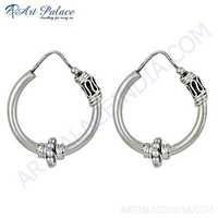 Gracious Fashion Plain Silver Earrings