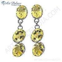 Elegant Citrine Silver Gemstone Earrings