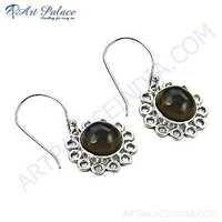 Flower Style Smokey Quartz Silver Gemstone Earrings