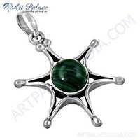 Rocking Style Star Malachite Gemstone Silver Pendant