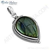 Fastival Designer Labradorite Gemstone Silver Pendant