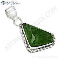 Charming Prenite Gemstone Silver Pendant