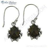 Indain Royal Style Smokey Quartz Silver Gemstone Earrings