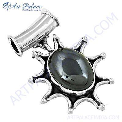 Ingenious Big Gun Metal Gemstone Silver Pendant