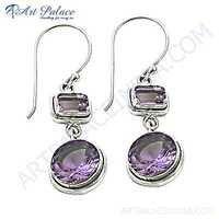 Romantic Amethyst Silver Gemstone Earrings For Women