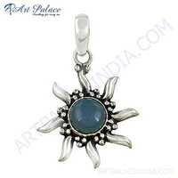 Designer Stylish Star Chalce Gemstone Silver Pendant