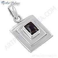 Simple Design Garnet Gemstone Silver Pendant