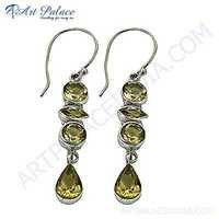 Charming & Rocking  Citrine Gemstone Silver Earrings