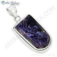 Exclusive Charoite Gemstone Silver Pendant