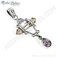 Delicate Amethyst & Crystal Gemstone Silver Pendant