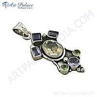 Celeb Style Multi Gemstone Silver Pendant