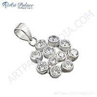Classic Flower Style Cubic Zirconia Silver Pendant
