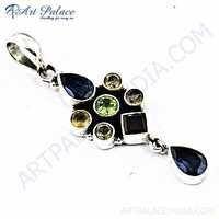 Antique Style Multi Gemstone Silver Pendant
