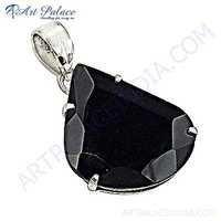 Midnight Big Black Onyx Gemstone Silver Pendant