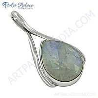 Party Wear Rainbow Moonstone Silver Pendant