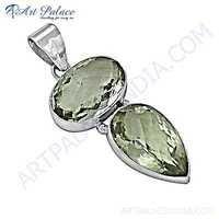 Sensational Green Onyx Gemstone Silver Pendant