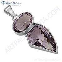New Extra Shine Amethyst Gemstone Silver Pendant