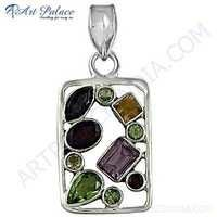 New Fashionable Multi Stone Silver Pendant