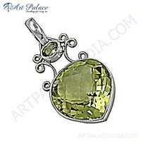 indian Designer Lemon Quartz Gemstone Silver Pendant