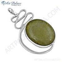 Unique Style Golden Rutil Gemstone Silver Pendant